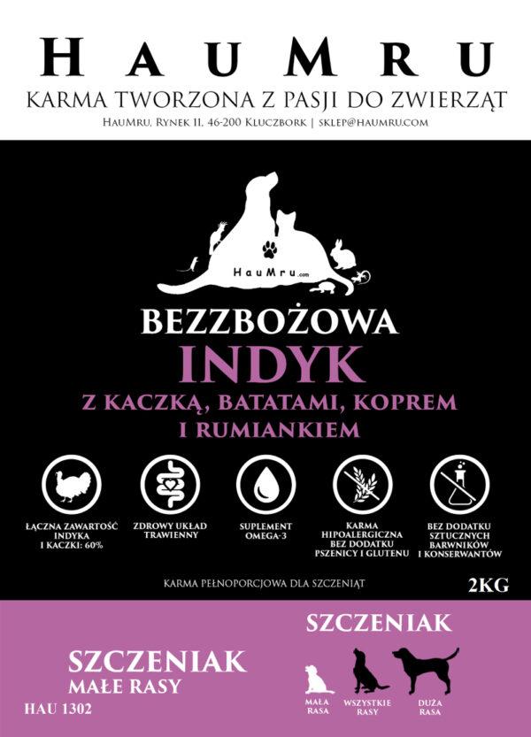 HauMru BEZZBOŻOWA INDYK Z KACZKA BATATAMI KOPREM I RUMIANKIEM 2 KG (Szczenię-Mała rasa)